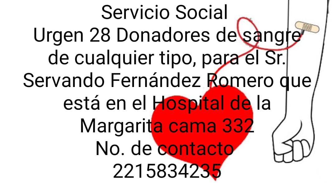 Solicitan sangre en IMSS La Margarita