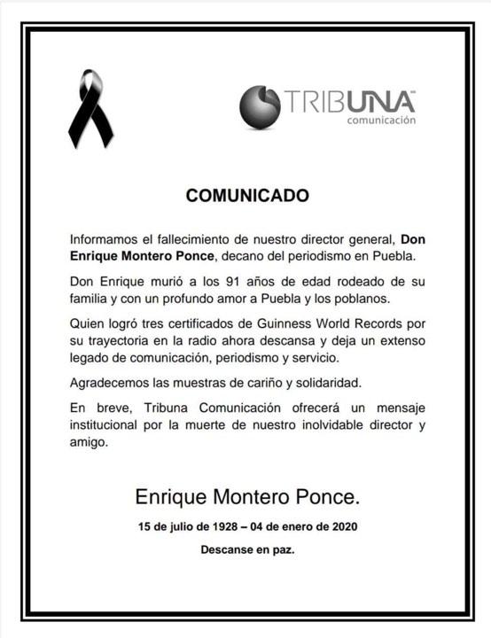 Fallece el periodista Enrique Montero Ponce a los 91 años