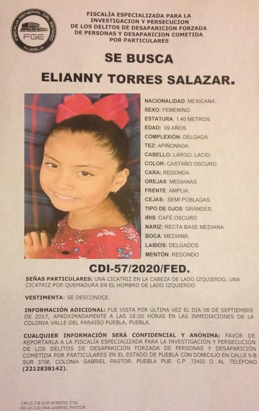 Se solicita apoyo ante la desaparición de Elianny Cruz Salazar, de 9 años de edad