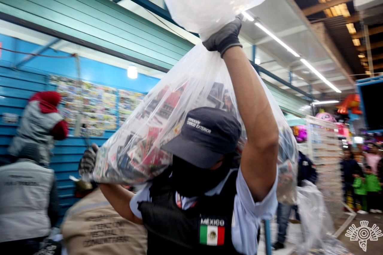 Realiza SSP operativo conjunto contra piratería en el Mercado Zapata