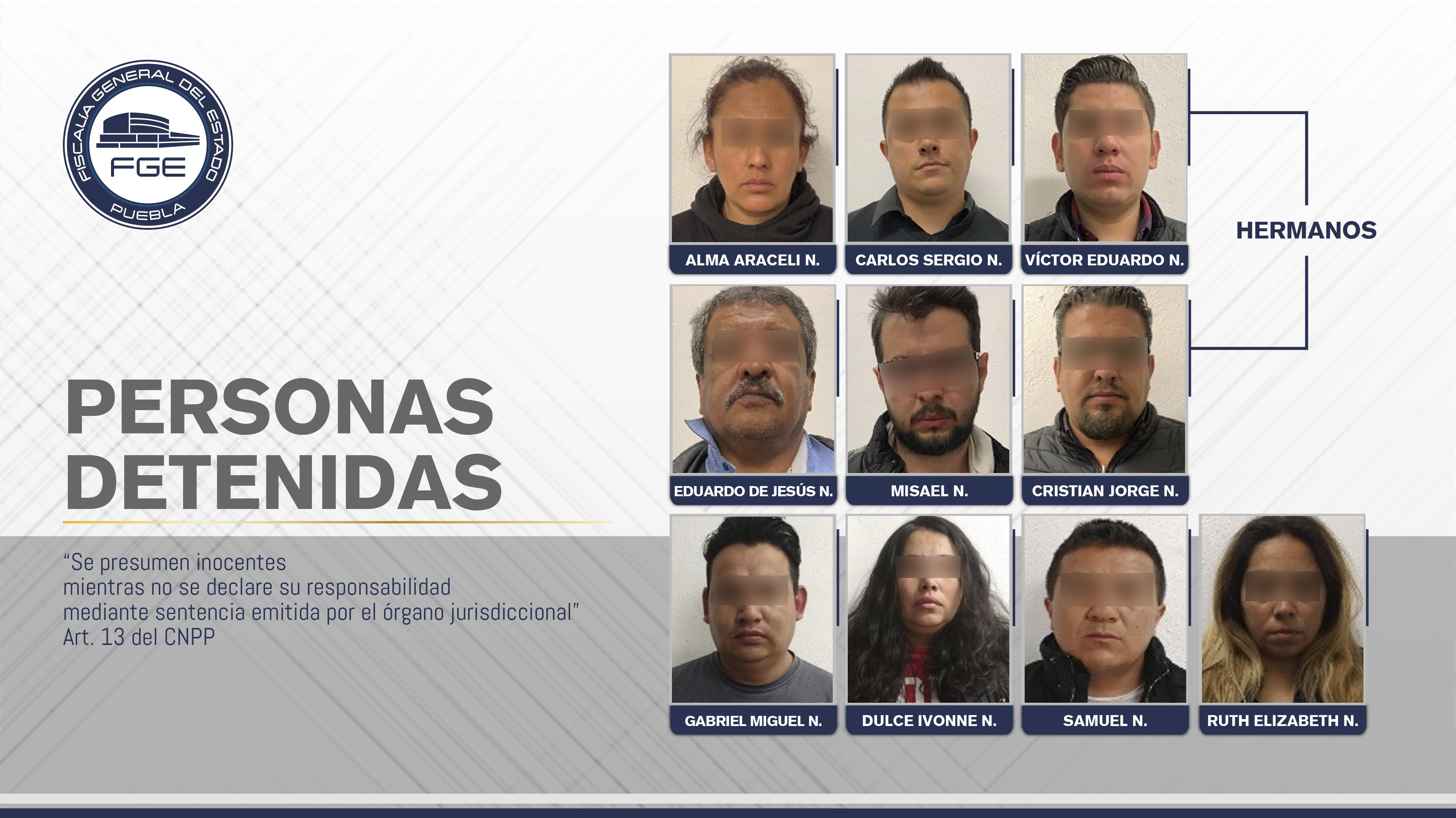 La Fiscalía de Puebla realizó cateos y detuvo a 10 personas