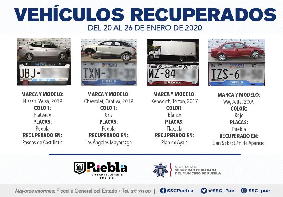 En la última semana, recuperó SSC de Puebla siete vehículos con reporte de robo.