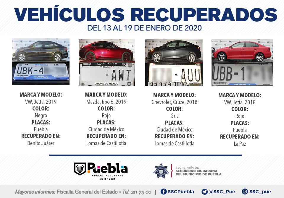 Policía municipal de Puebla ubicó y remitió 19 vehículos ante el agente del ministerio público.
