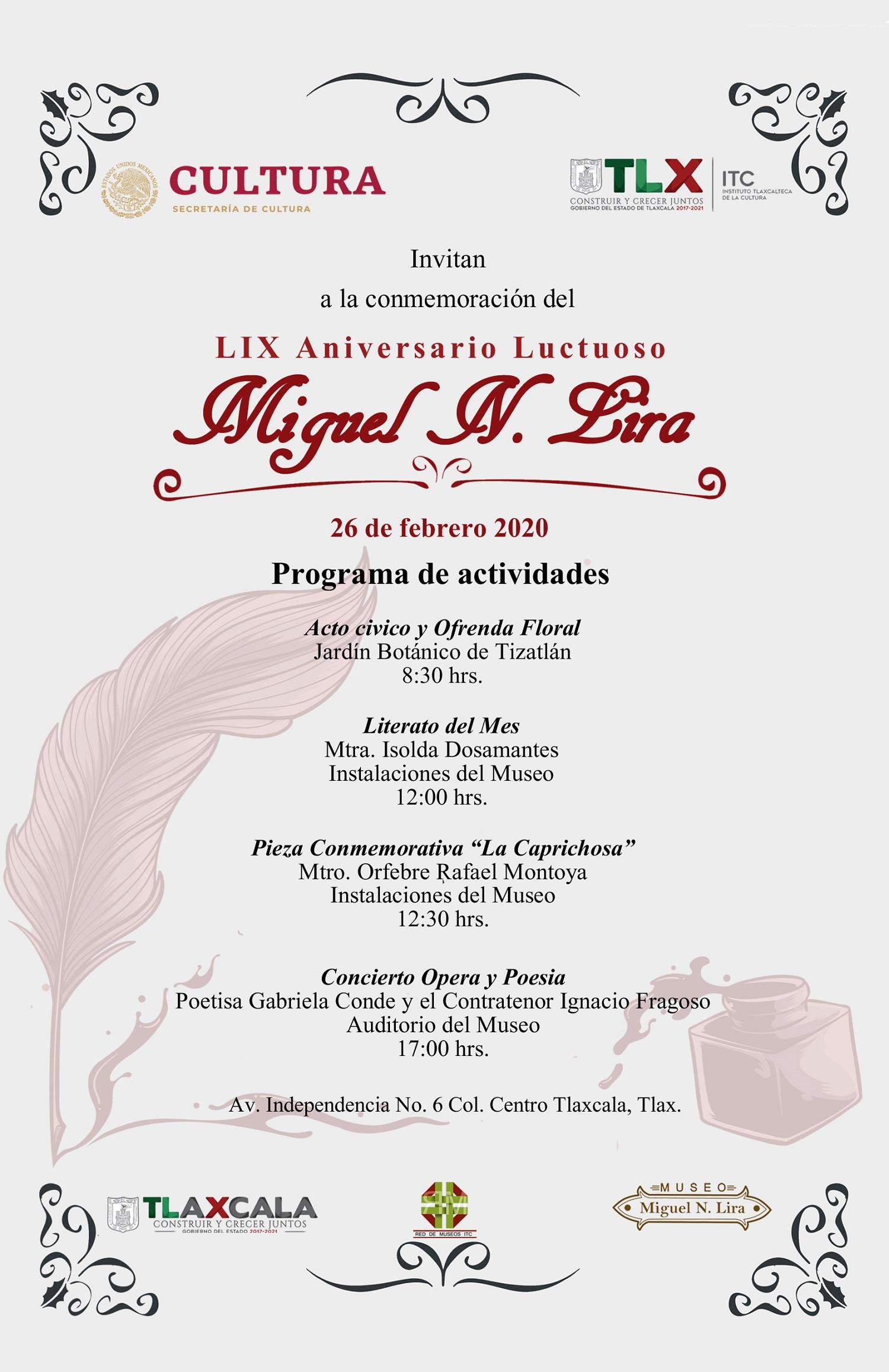 Desde Tlaxcala: Conmemorará ITC aniversario luctuoso de Miguel N. Lira