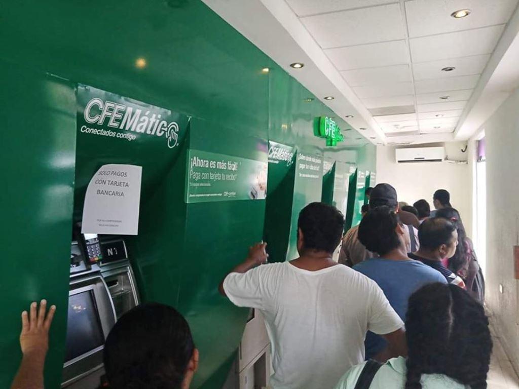 Cajeros de CFE inservibles y el trato en oficina, déspota: Usuarios