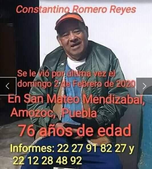Se solicita su apoyo para localizar a Constantino Romero Reyes de la Inspectoría de Mendizabal