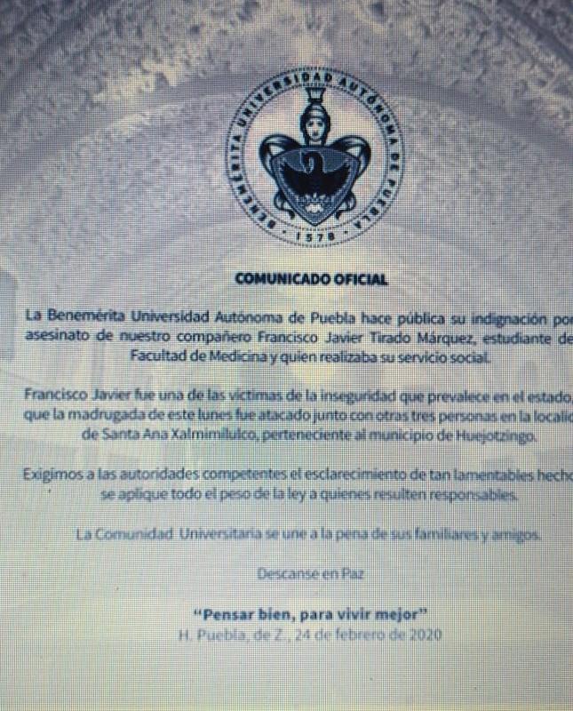 Lamenta la BUAP asesinato de su estudiante en Santa Ana Xalmimilulco y exige justicia