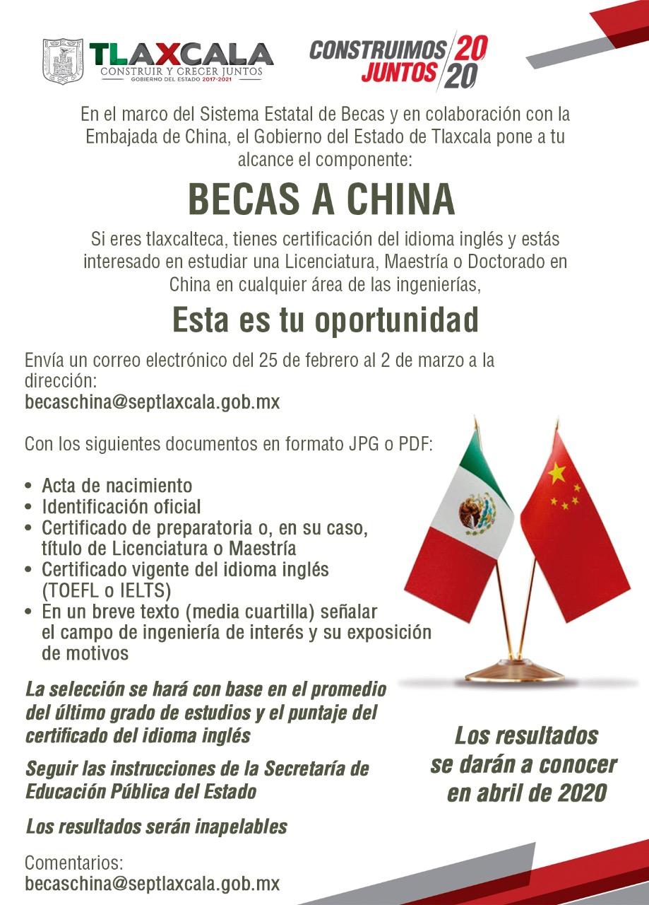 """Emite gobierno del estado convocatoria """"Becas a China"""""""