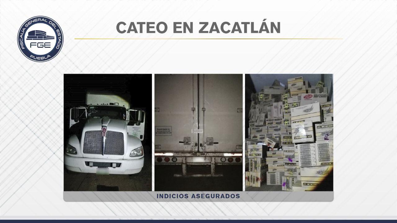 En cateo Fiscalía Puebla recuperó tractocamión con mercancía