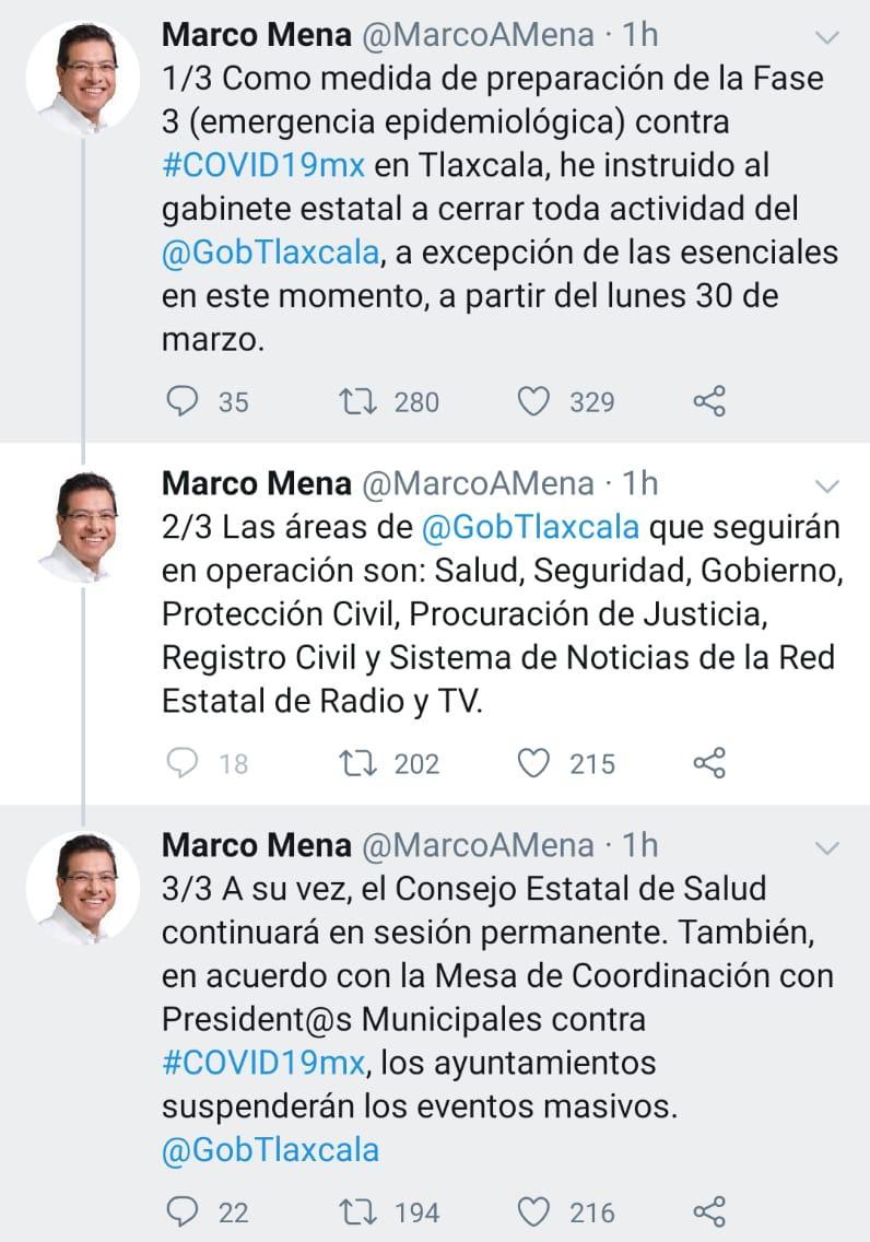 Tlaxcala se prepara para la fase 3 de la contingencia, alerta Marco Mena