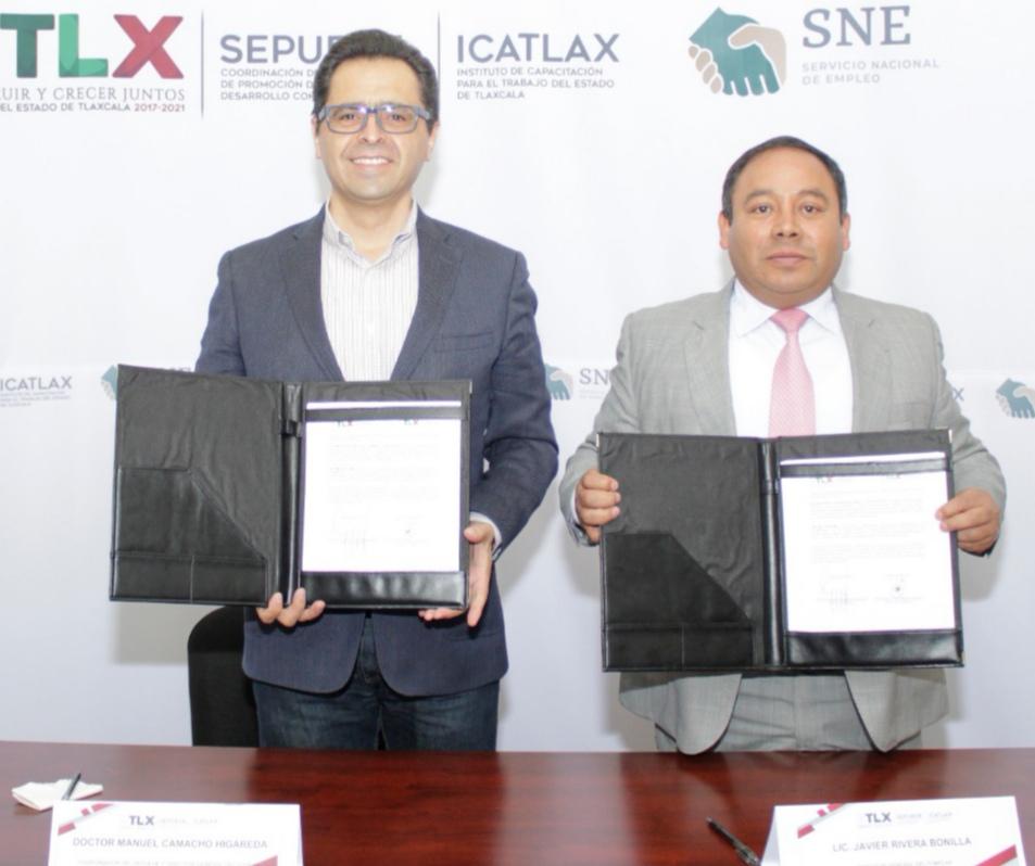 Signan convenio ICATLAX y FOMTLAX en materia de capacitación laboral.