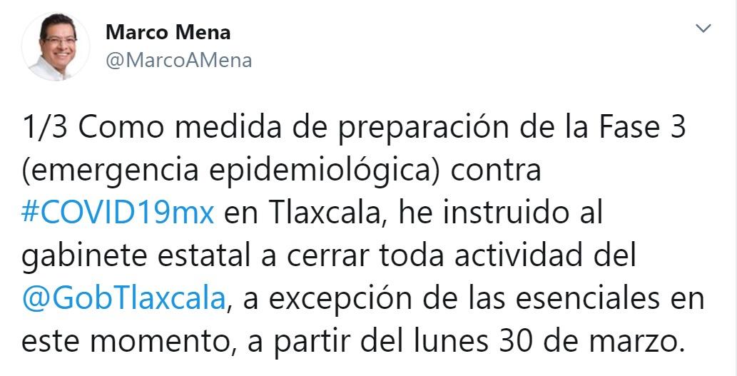 Marco Mena anuncia cierre del gobierno en preparación de fase 3 de Covid-19