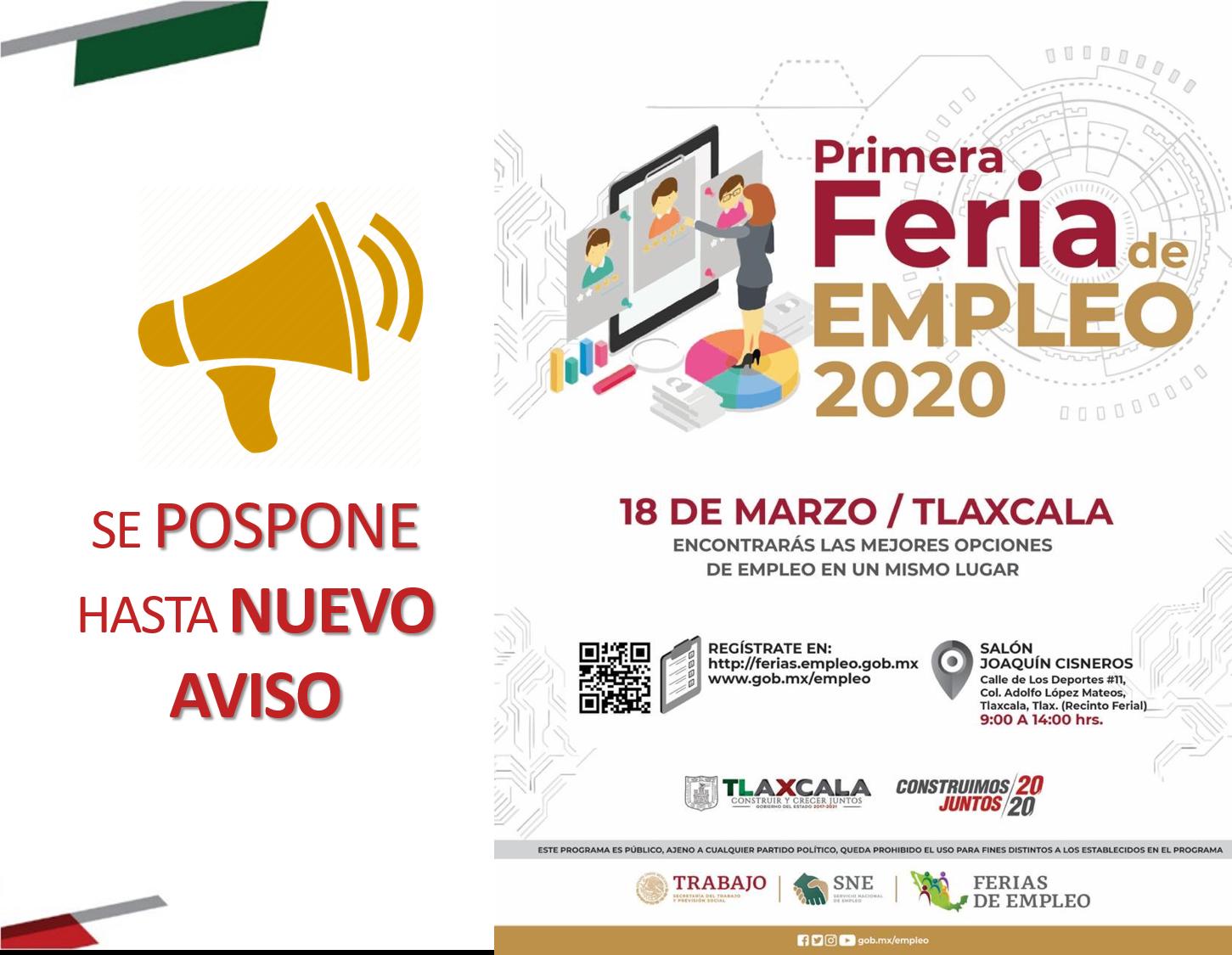 Pospone SEPUEDE-SNE primera Feria del Empleo 2020