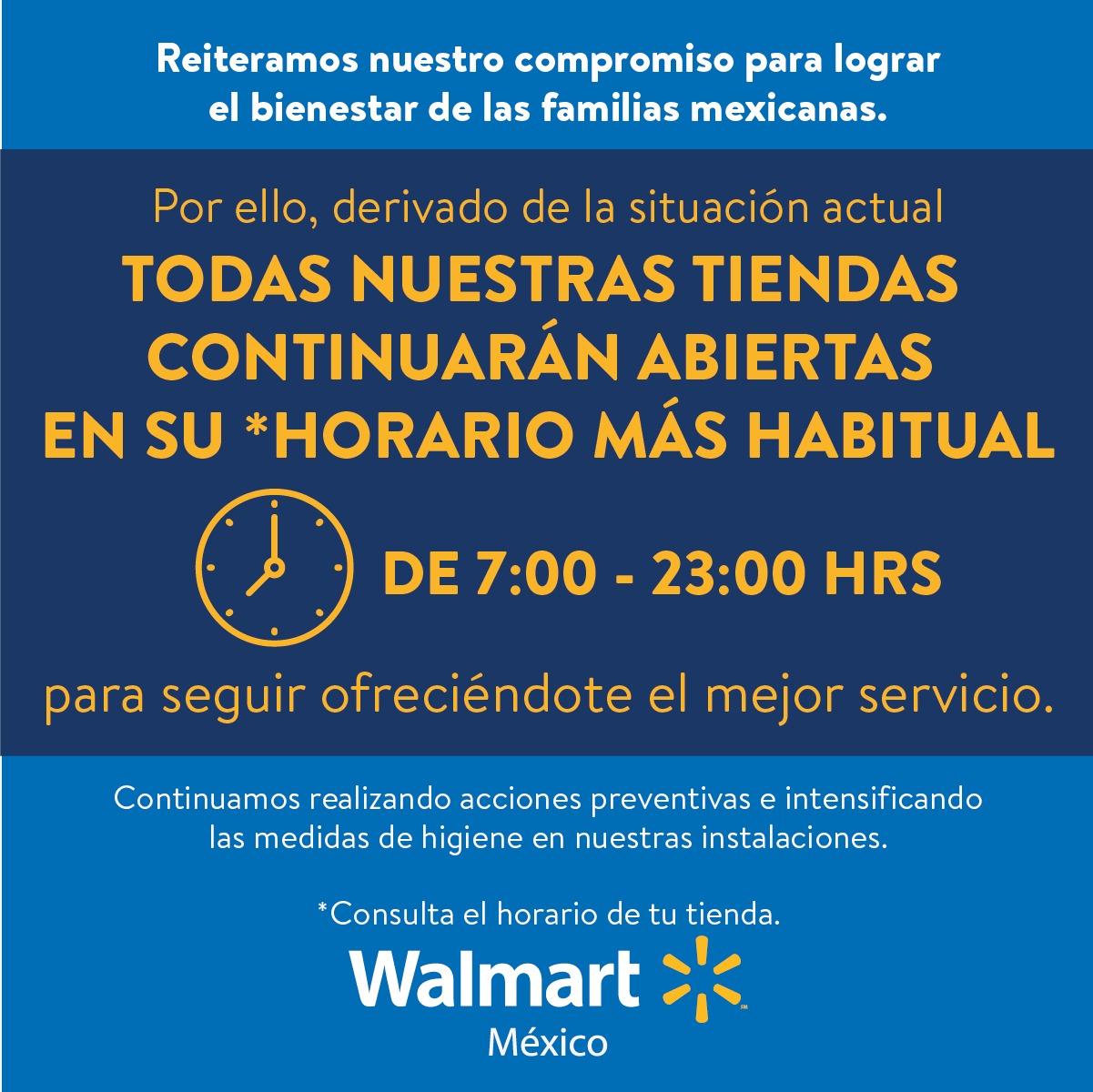 WALMART mantiene sus horarios en tiendas y apoya a los adultos mayores