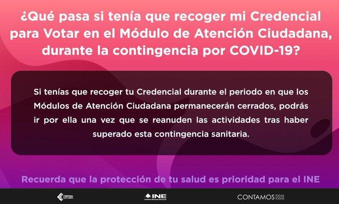 Para contribuir a la prevención del COVID-19, el INE cierratemporalmente los Módulos de Atención Ciudadana en el país