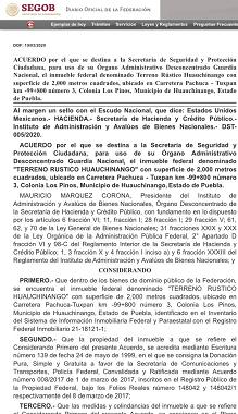 En Huauchinango destinan predio de 2 mil metros cuadrados para Guardia Nacional