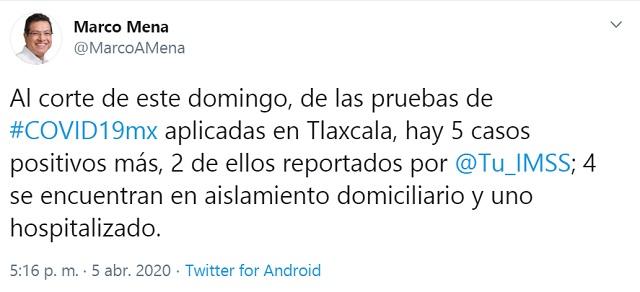 Confirma SESA cinco casos más de Covid-19 en Tlaxcala