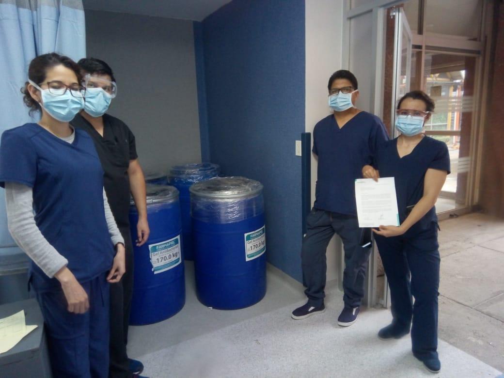 Farmapiel dona gel sanitizante a hospitales del Sector Salud