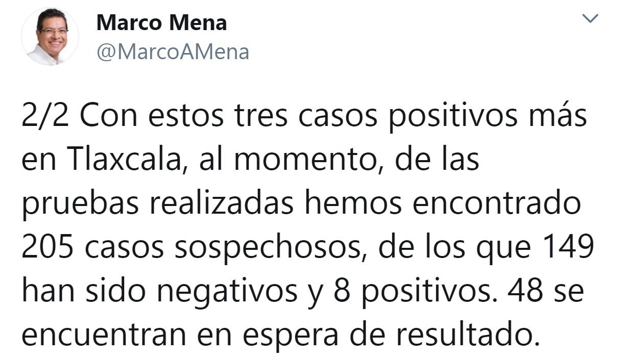 Desde Tlaxcala: Gobernador Mena confirma 3 positivos de coronavirus más en la entidad