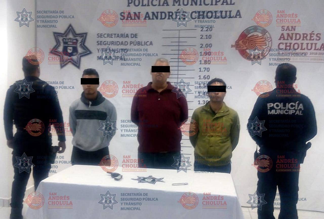 Policía de San Andrés Cholula detuvo a 3 por tentativa de robo