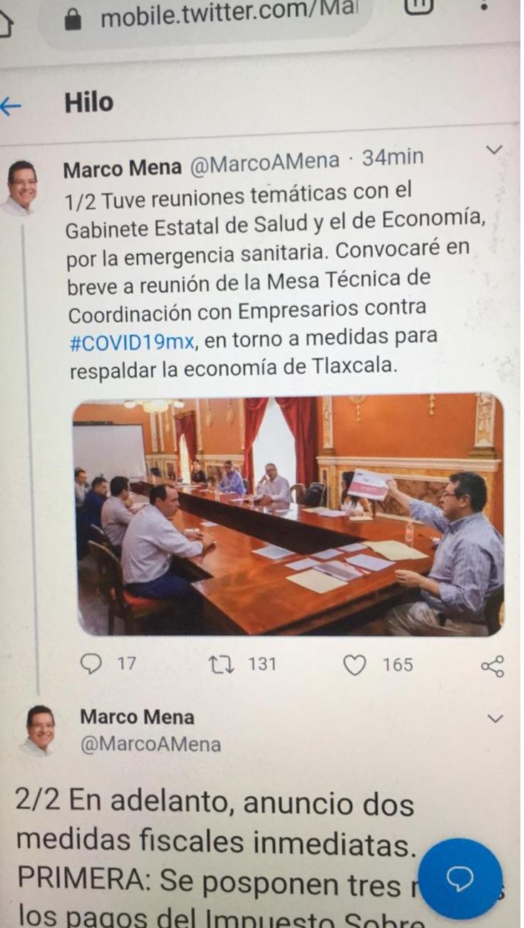 Gobierno de Tlaxcala, anuncia dos medidas fiscales ante el covid-19