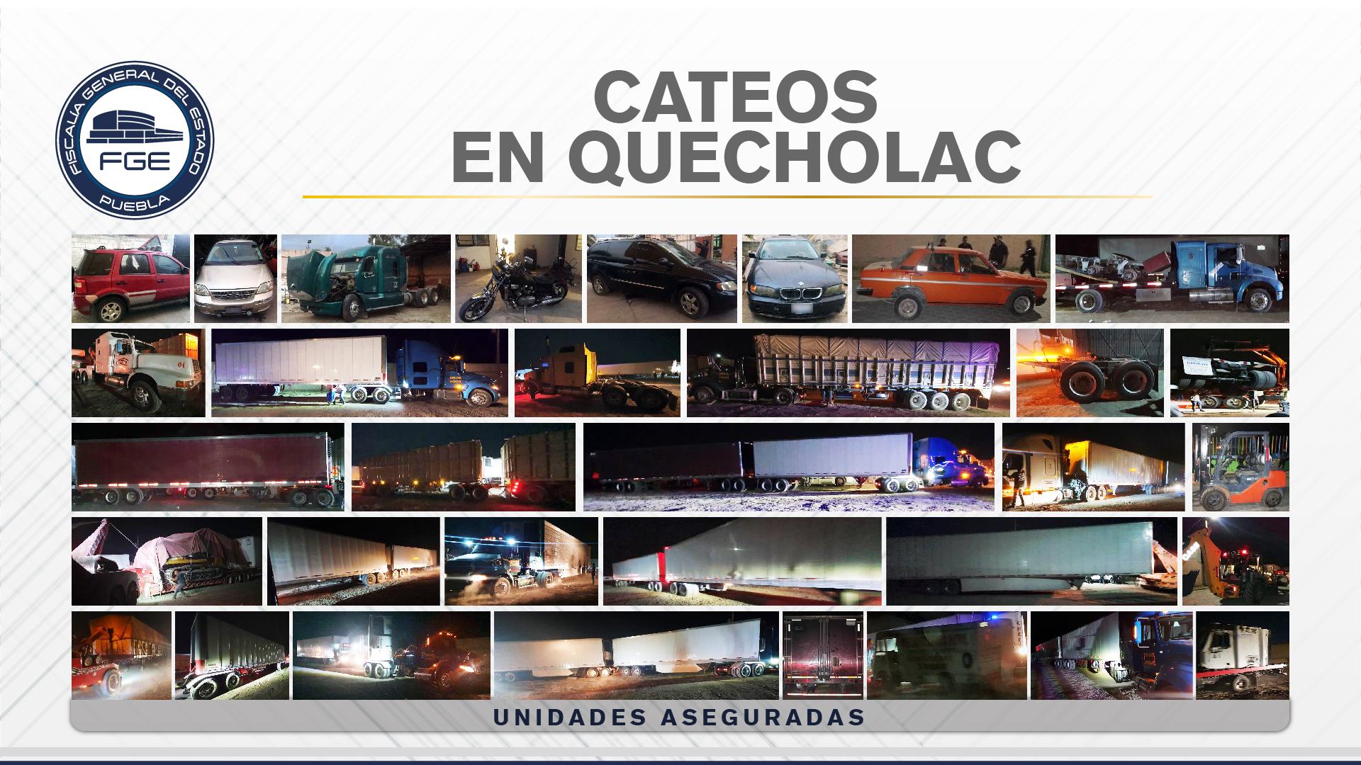 En cateos de Quecholac, Fiscalía Puebla encontró unidades robadas y mercancía, deteniendo a tres hombres