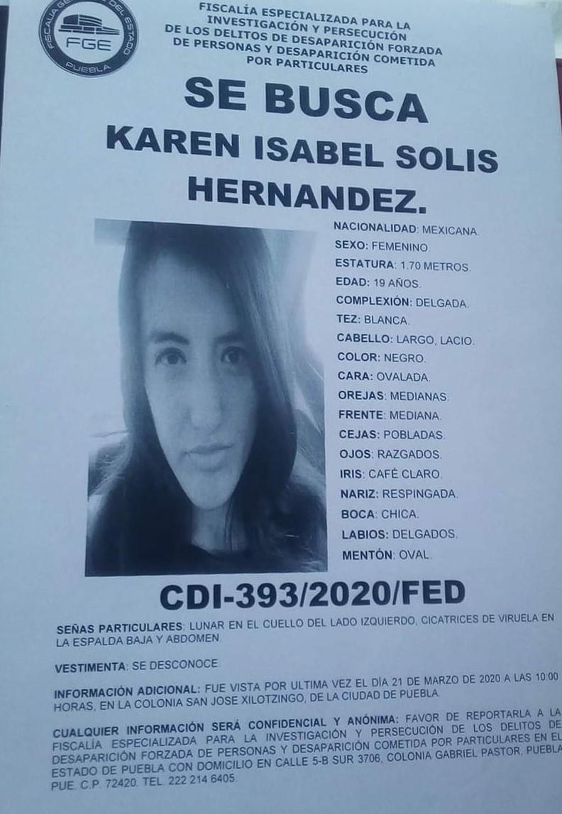 Se busca a Karen Isabel, desapareció en marzo en la Colonia Xilotzingo