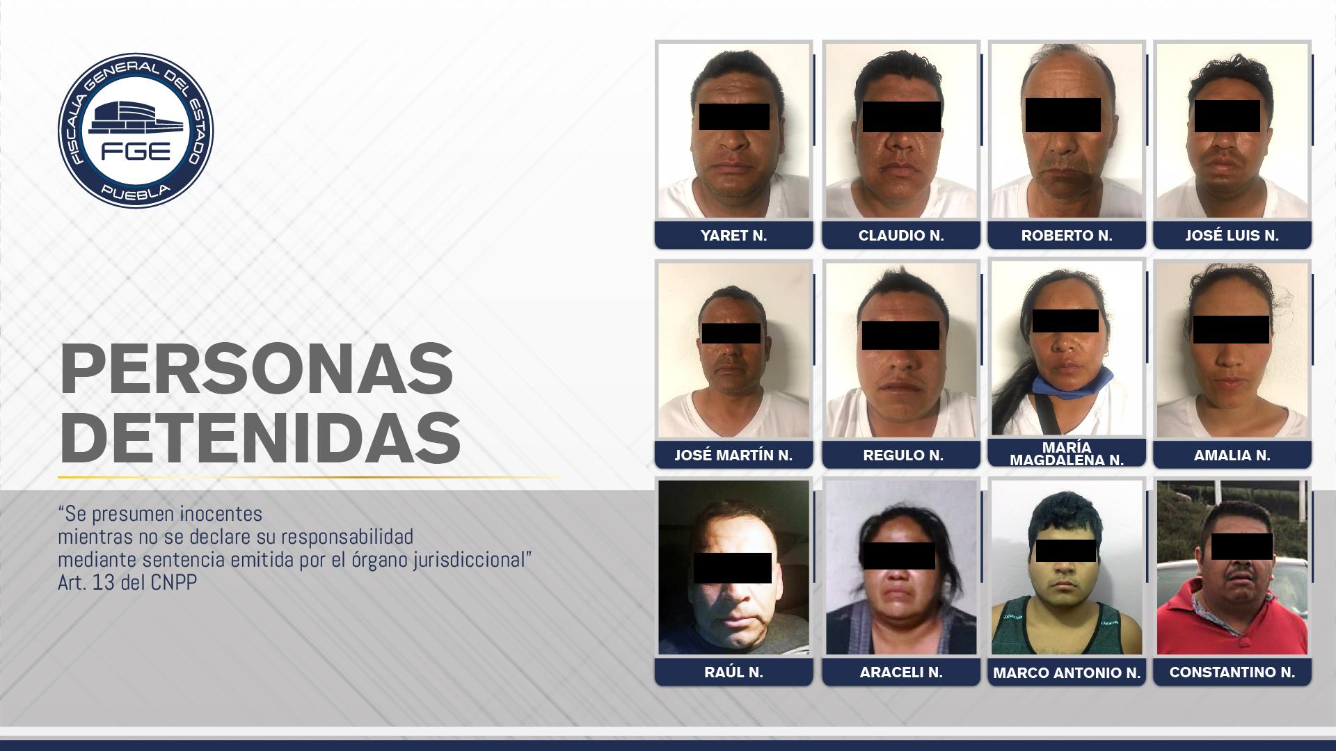 Fiscalía Puebla cateó diez inmuebles y detuvo a 12 personas en la Sierra Negra
