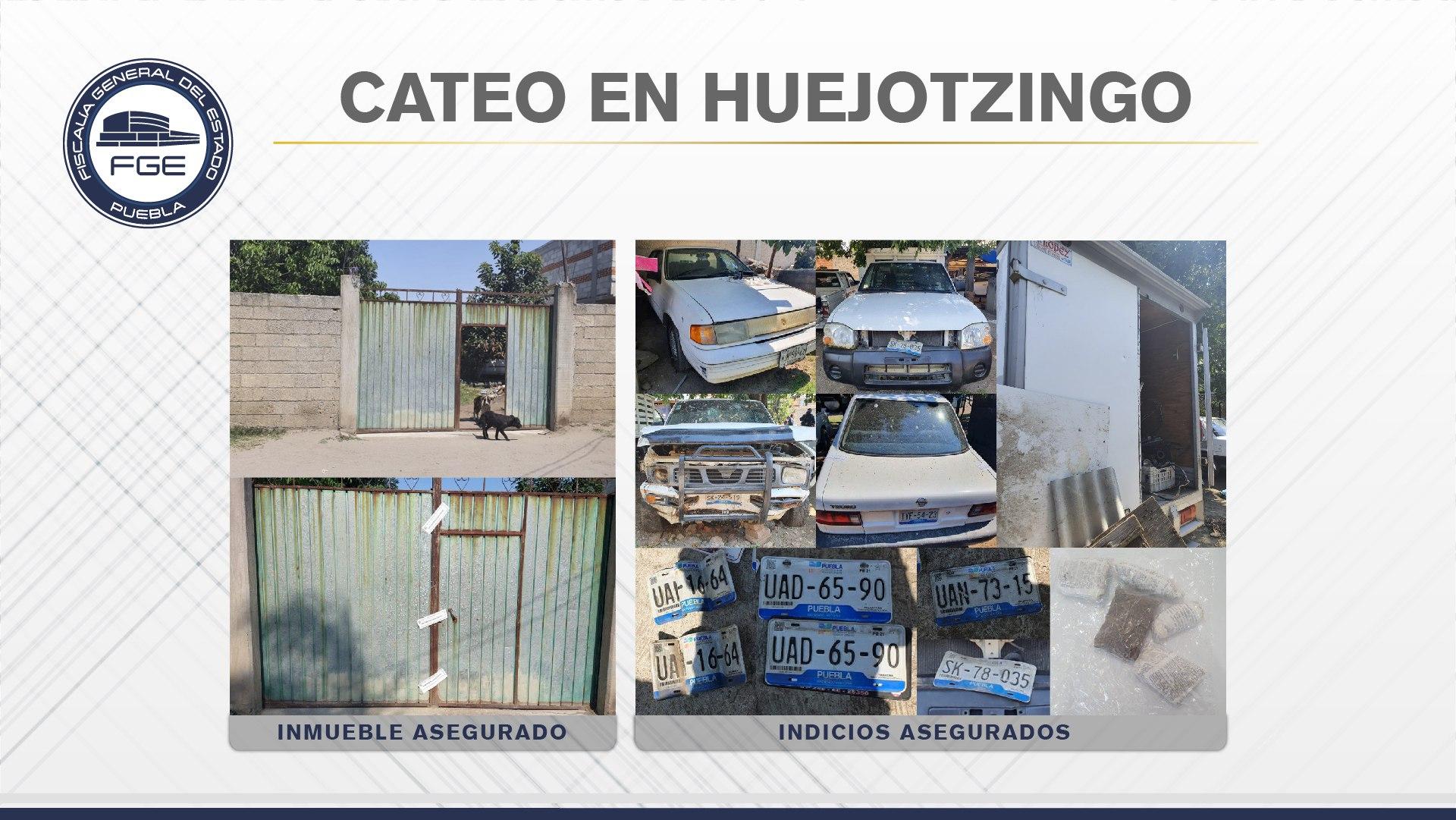 Fiscalía Puebla halló en Xalmimilulco unidades y placas robadas