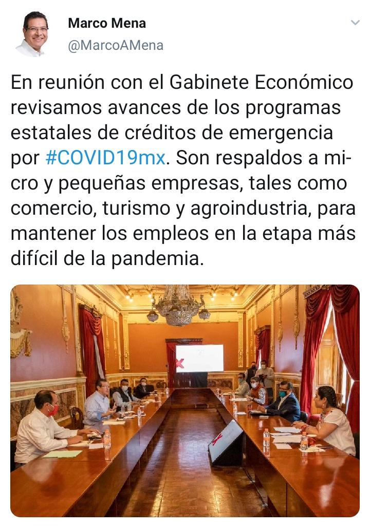 Marco Mena revisa con su gabinete económico las acciones en Tlaxcala ante el covid-19