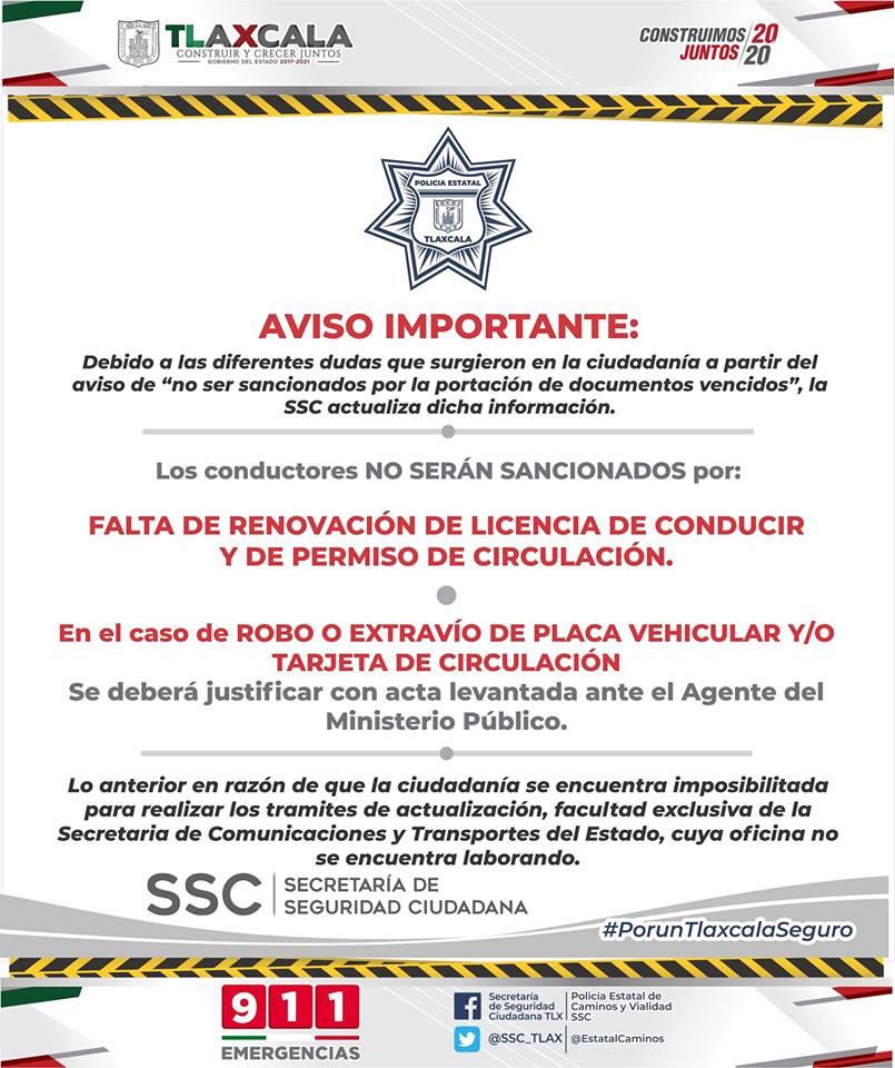 Desde Tlaxcala: Dirección de Vialidad refuerza el apoyo a conductores por vencimiento de licencia y permiso en la entidad