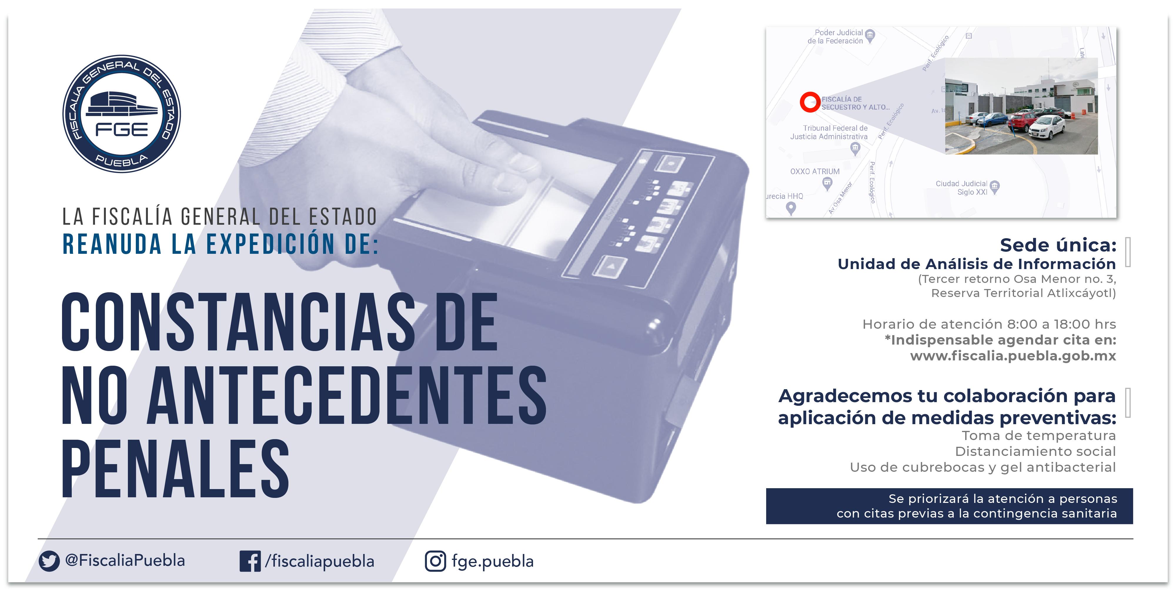 La Fiscalía de Puebla reanuda la expedición de Constancias de no antecedentes penales