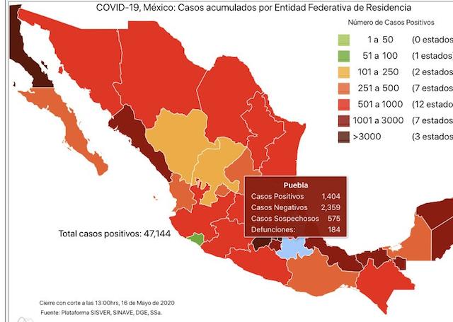 Contagios de Coronavirus en Puebla son ya mil 404: Secretaría de Salud federal