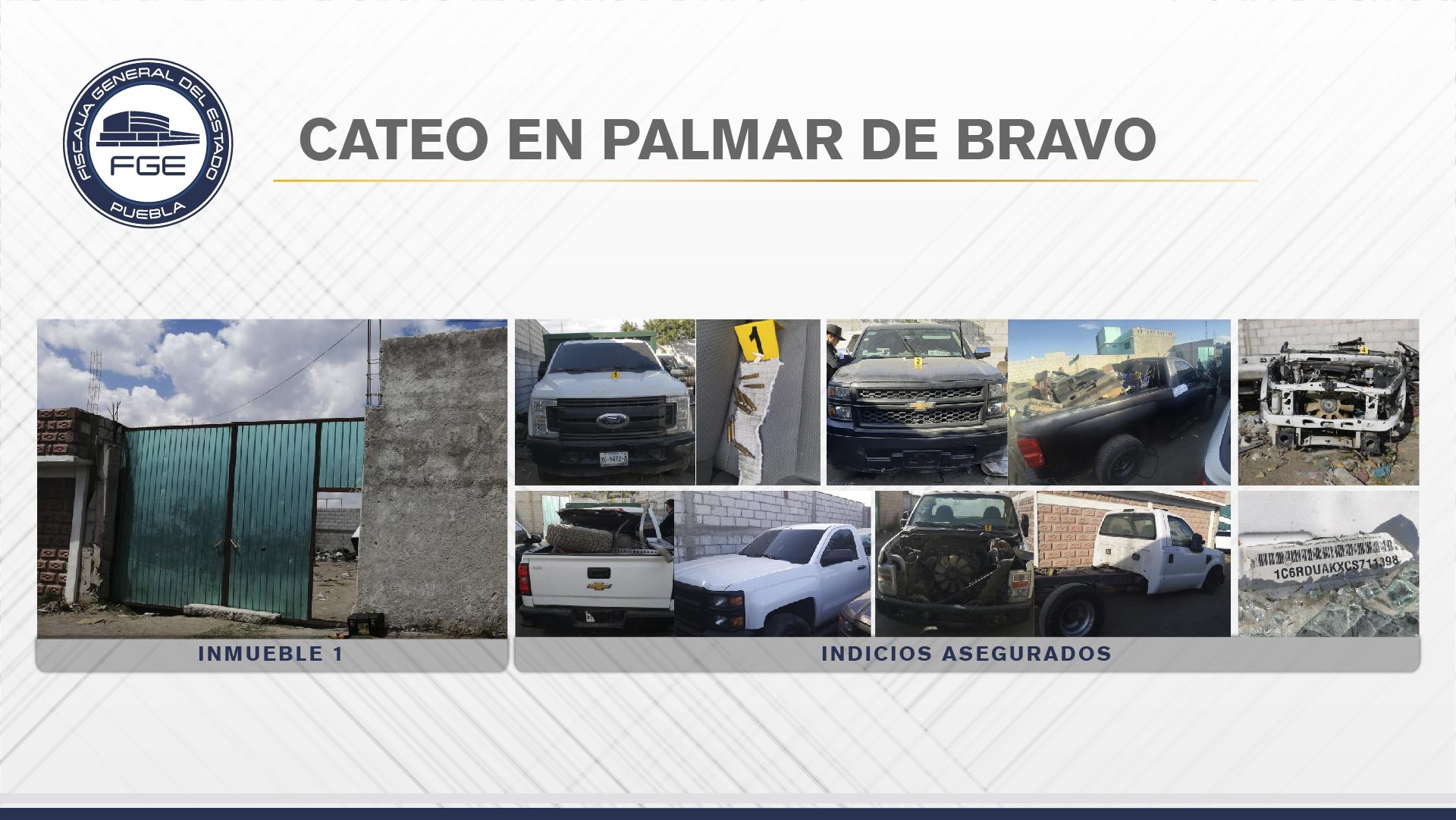 En Palmar de Bravo, Fiscalía cateó dos inmuebles conectados entre sí