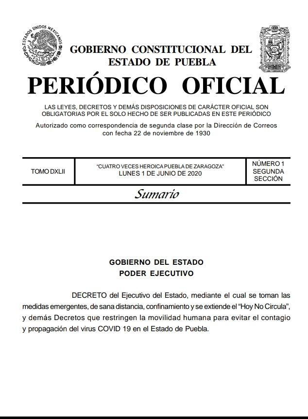 Gobernador Barbosa publica en el Periódico Oficial el decreto para extender las medidas contra el Coronavirus