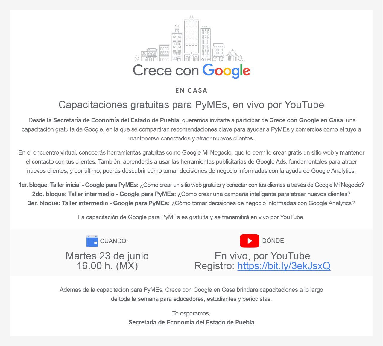 """Taller en línea """"Crece con Google"""""""