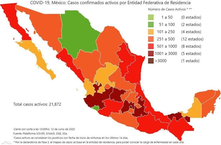 Puebla, una de las seis entidades con más de mil casos activos
