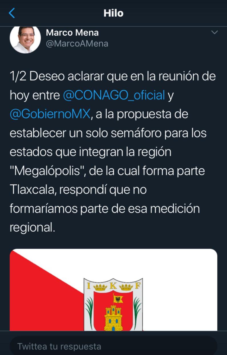 Tlaxcala no formará parte del semáforo regional Covid19, aclaró Marco Mena