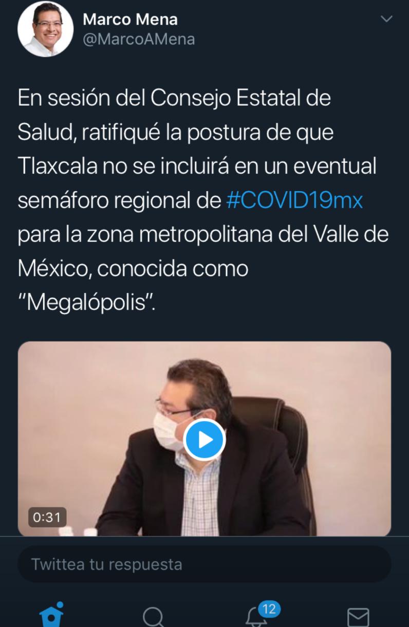 Tlaxcala no se suma al semáforo regional, porque vive un punto diferente en la pandemia covid-19: Marco Mena