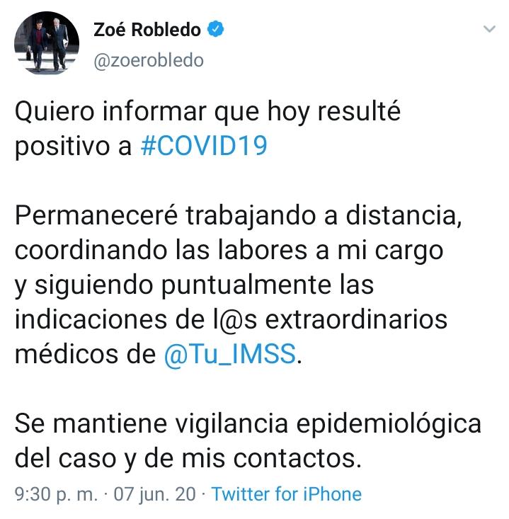Da positivo a Covid-19 el director del IMSS, Zoé Robledo