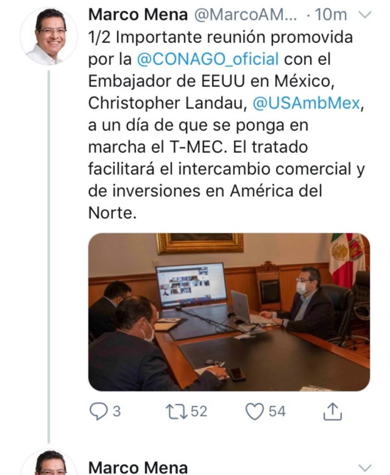 Gobierno de Tlaxcala trabaja en reactivar la economía del estado; Marco Mena participa en reunión de la Conago
