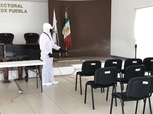 Se realiza sanitización de instalaciones del Tribunal Electoral del Estado de Puebla