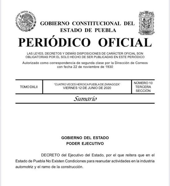 Decreto con que el gobernador Barbosa frenó el regreso de las industrias automotriz y de la construcción