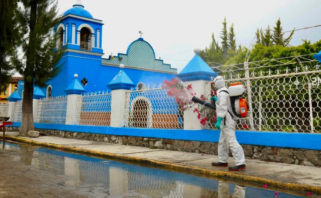 Sanitiza Ayuntamiento de San Andrés más de 263 mil metros cuadrados de espacios públicos.