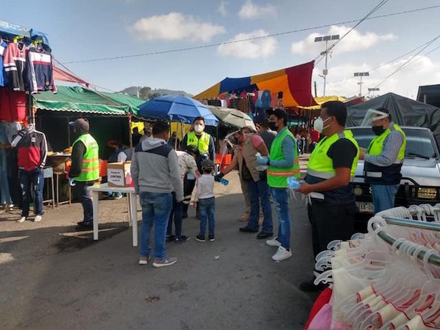 Desde Tlaxcala: Gobierno del estado mantiene filtros sanitarios por Covid-19 en tianguis sabatinos