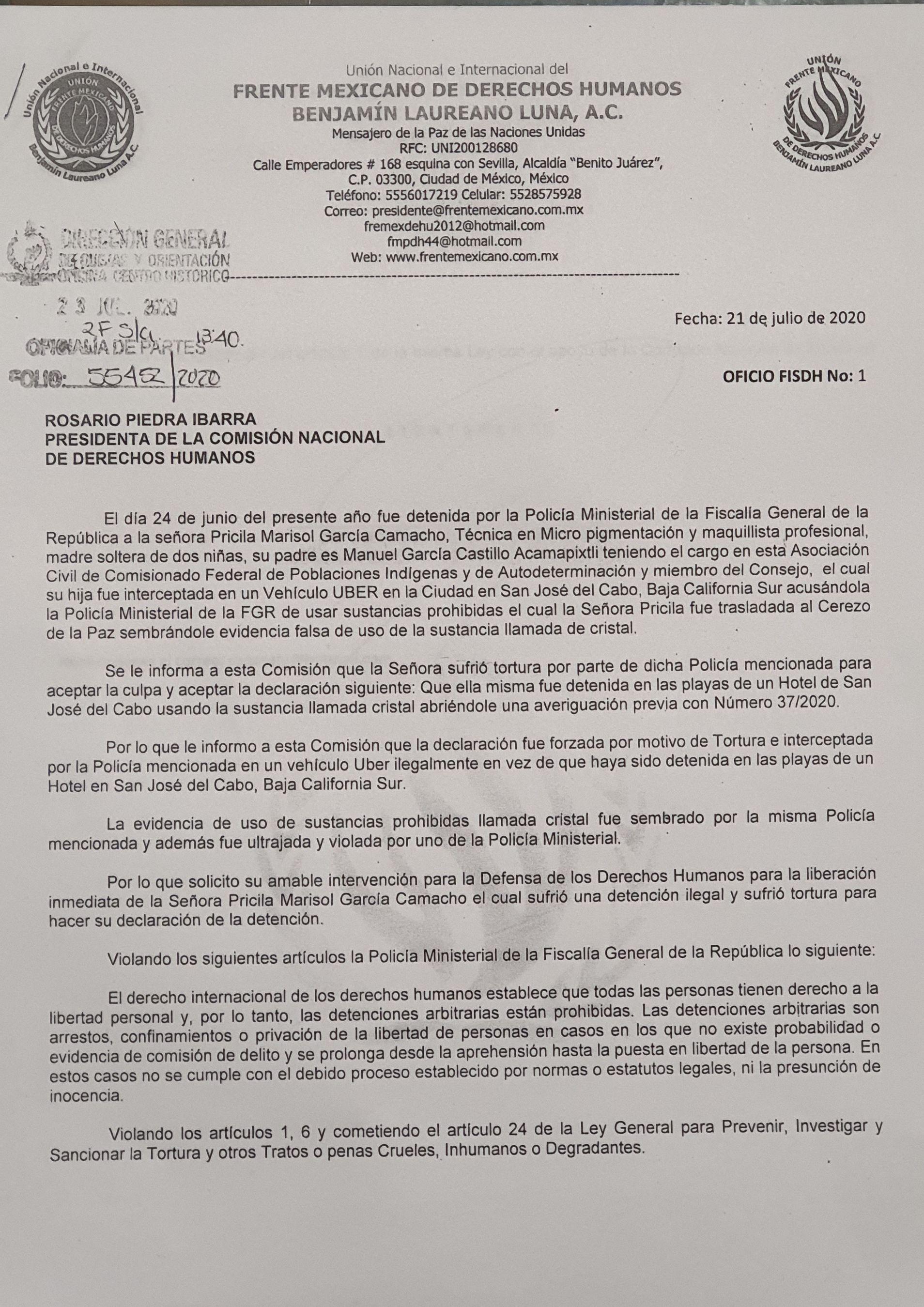 Denuncia el FMDH-BLL fabricación de delitos, tortura  y violación a una joven en San José del Cabo