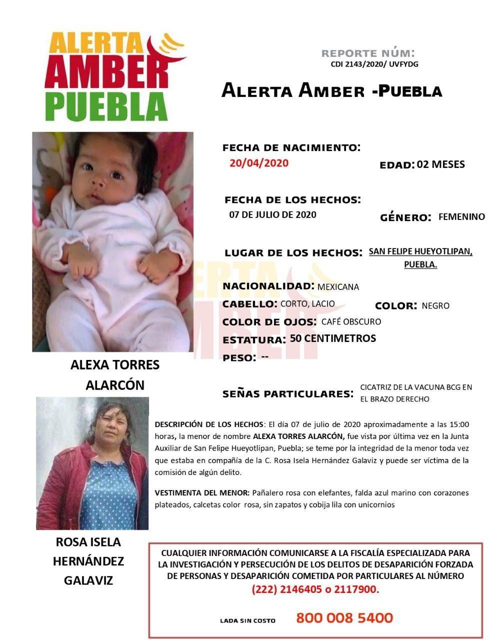 Fiscalía de Puebla activa Alerta Amber para localizar a bebé de 2 meses de edad