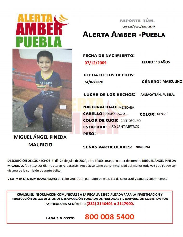 Se activa Alerta Amber para localizar a menor de 10 años de edad