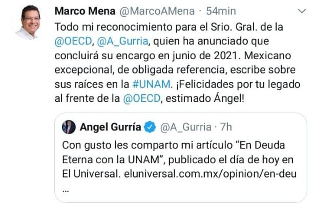 Fotonota: Gobernador de Tlaxcala, Marco Mena, felicita a José Ángel Gurría por su labor al frente de la OECD