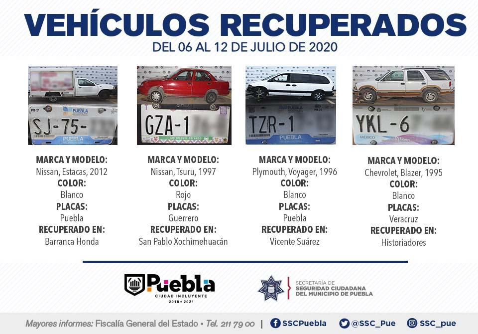 Remitió Policía Municipal de Puebla 15 vehículos ante el agente del Ministerio Público.